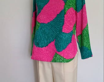 70's top, S, M, Hawaiian top, colorful top, bateau top, boatneck top, cotton top, pink top, turquoise top