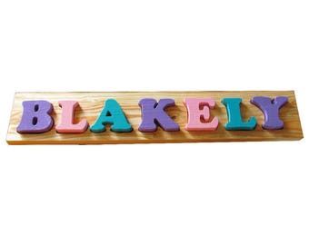 Solid Wood Custom Name Puzzle - 7 letter Solid Wood Toddler Name Puzzle - Toddler Name Puzzle - Alphabet Learning Toy - Alphabet Puzzle