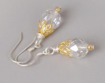 Sterling Silver Earrings; Crystal Drop Earrings; Bridal Earrings; Dainty Jewelry; Mixed Metal Jewelry; Classic Wedding Earrings; Bridesmaids