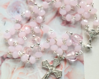 Pink Crystal Rosary with Hearts, First Communion Rosary, Baptism Gift, Rosary for Girls, Communion Beads, Catholic Rosary, Goddaughter Gift
