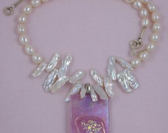 Iridescent White Pearls & Irridized Pendant