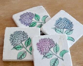 Floral Marble Coasters/Marble Hydrangea Coasters/Shabby Chic Coaster Set// Tile Coasters/Stone Coasters/Hostess Gift/Drink Coasters
