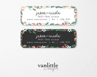 Personalized Holiday Return Address Labels, Custom Christmas Self-Adhesive Labels, Return Address Stickers, RAL40
