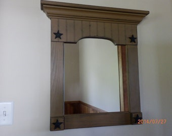 Mirror,primitive,farmhouse, cottage mirror with cast iron stars or without stars,bath,hall,accent mirror,