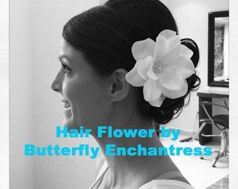Bridal Hair Flower, Wedding Hair Accessories, Flower Clip, Bridesmaid Gift - Pale Ivory Gardenia Flower Hair Clip - Clear Rhinestone