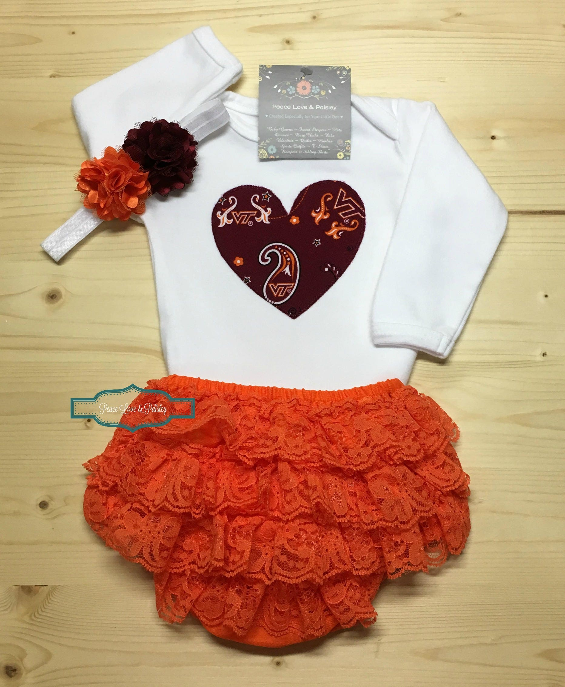 VT Bodysuit Lace Ruffle Diaper Cover and Headband Set Made