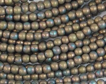 4mm Matte Oxided Bronze Clay Druk Czech Beads -100