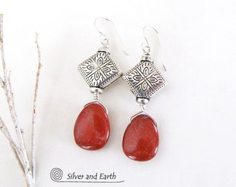 Red Jasper Earrings, Silver Earrings, Natural Stone Jewelry, Lightweight Earrings, Silver & Red Earrings, Stone Dangle, Unique Gift for Her