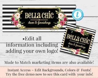 Black White Striped Facebook Set, Customizable Facebook, DIY Facebook, Editable Facebook Set, Instant Download Template, DIY Business Set