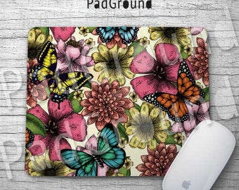 Butterfly Mouse Pad, Floral Pattern Mousepads, Mouse Mat, Office Decor, Studio Decor, Workshop Decor, Girls Gifts, Gifts for Her - BF02