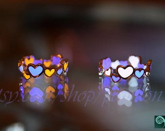 Hearts Ring / GLOW in the DARK / Two Colors Hearts Ring / Silver Hearts Ring /