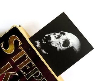 Skull bookmark, page marker, human skull, black and white, skull picture, gothic bookmark, skull print, skull art, book lover gift, student
