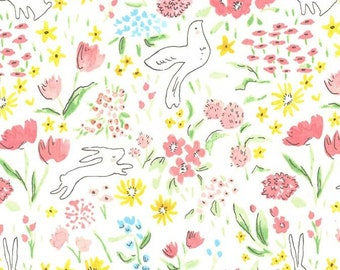 Michael Miller - Sommer Garden Bloom - Sarah Jane - bunny dove floral white springtime - cotton sewing quilting fabric - HALF YARD