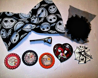 Hairbow  DIY Make your own - Nightmare Before Christmas -  8 pieces