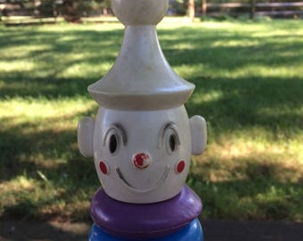 Playskool Clown With Stacking Plastic Rings on a Rocking Wooden Base
