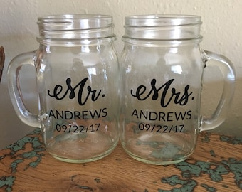 Custom Mr. and Mrs. Mason Jar Glasses - Mr. & Mrs. Glasses - Personalized Mr and Mrs Glasses - Custom Wedding Glasses - Custom Wedding Date