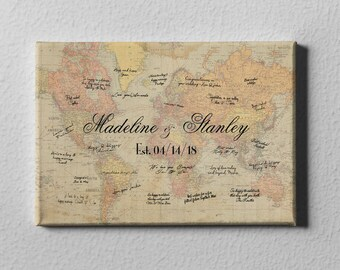 SALE 50% Off Canvas Guest Book, Vintage World Map Guest Book Alternative, Rustic Destination Wedding, Unique Gift for Couples -  GB23