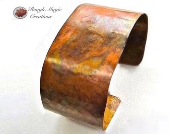 Wide Cuff Copper Bracelet, Rustic Mens Jewelry, Fathers Day Gifts, Antiqued Copper Patina, Primitive Textured Metal, 7th Anniversary Gift