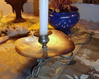 beautiful old candlestick, mother of Pearl and bronze