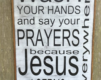 Wash your hands, Jesus and germs are everywhere sign,30x20. Rustic Wood Signs, Farmhouse Signs, Wall Décor