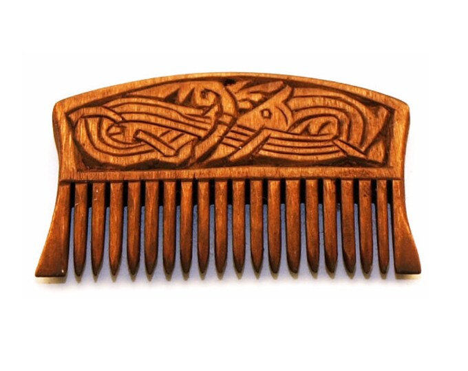 Viking Wooden Comb with a dragon