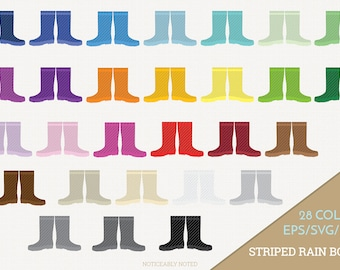 Rain Boots Vector, Stripe Galoshes Clipart, Rainboots Clip art, Striped Rain Boot SVG, Galosh PNG  (Design 13703)