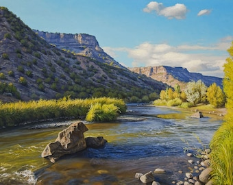 """Rio Grande Near Pillar - This listing is an 8X10"""" Archival Print Original Oil Painting by Jurgen Wilms, Southwest Landscape Painting, River"""