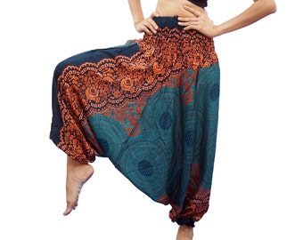 Plus Size Harem Pants Thai Rayon Pants, Boho Strenchy Yoga Pants, Elastic Waist Clothing Beach Women Baggy Casual M-XXL (Turquoise Pi02)