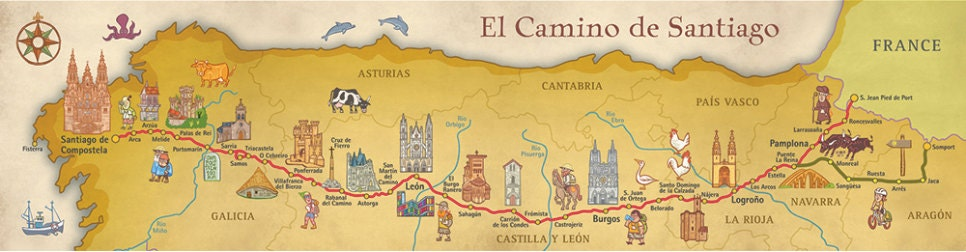 Camino de Santiago Way of Saint James Map Poster