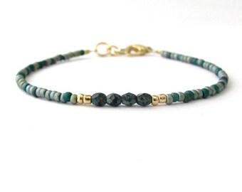 Teal Blue Green Bead Bracelet, Seed Bead Friendship Bracelet, Minimal Modern Gift Mom Mother Daughter Sister Friend Teen Tween Party Favor