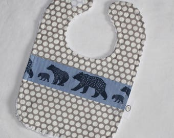 Organic Blue Bear Family and Dots Chenille Bib