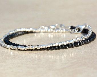 Black Spinel Gemstone Bracelet, Beaded Gemstone Bracelet, Layering Bracelet, Stacking Bracelet, Simple Jewelry, Gift for Her