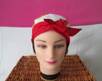 Scarf, chemo turban headband pirate woman with large red flowers