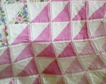 Pink and White Triangle Baby Girl Baby Quilt