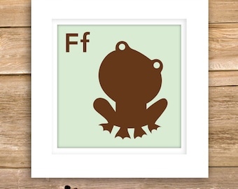 Frog Baby Wall Art, new baby gifts, birth, details, nursery, square, F, Animal