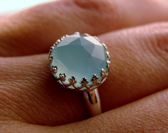 Faceted Sky Blue Chalcedony Bezel Set Sterling Silver Ring Size 7, 8