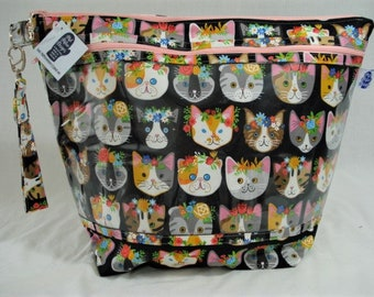 Cats with Flowers, Knitting Project Bag, Zippered Project Bag, Knitting Wedge Bag, Yarn Tote Bag, Yarn Bag, Knitting bag,