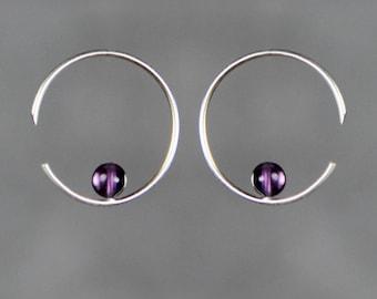Argent sterling améthyste simplel hoop boucles d'oreilles fait main US freeshipping Anni Designs