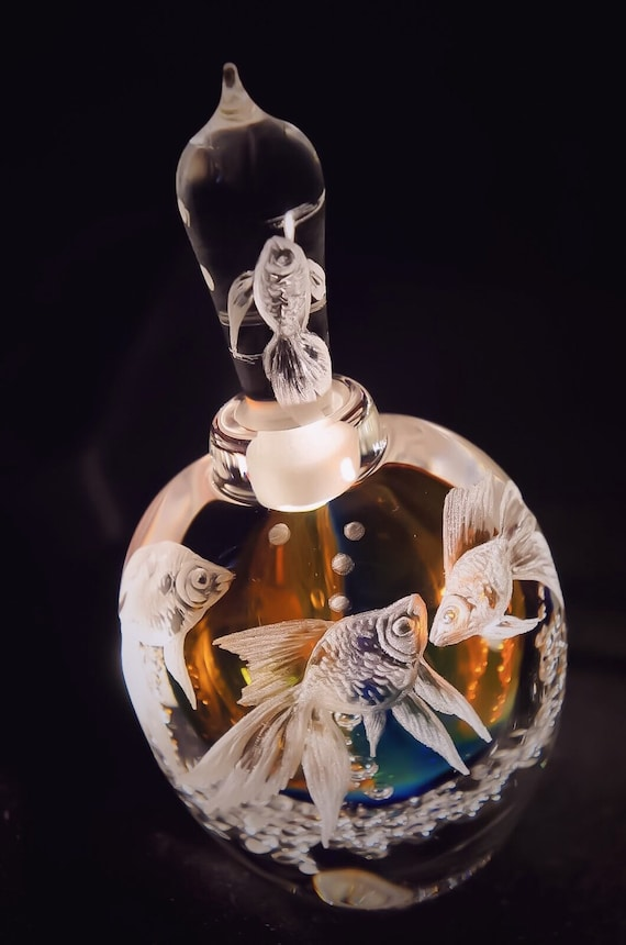 Hand engraved tilted Goldfish  Perfume Bottle, vanity, homedecor, perfume bottle, scented, crystal perfume bottle, wedding gift, handblown