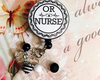 OR Nurse | Operating Room | Surgical Nurse | Black Lace Retractable Badge Holder