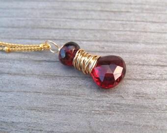 14K Garnet Necklace Gold Filled,  Burgandy Gemstone,  January Birthstone Jewelry, Wire Wrapped