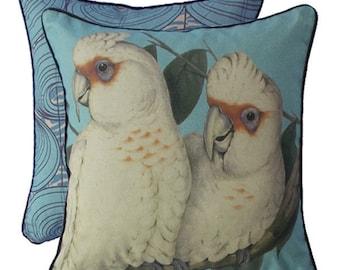 Coral Blue Corellas cushion cover