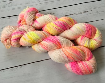 Pink Swirl Hand Dyed Superwash Merino/ Nylon Sock Yarn