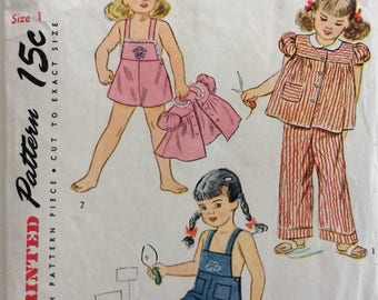 Simplicity 1687 girls playsuit and smock size 1 vintage 1940's sewing pattern