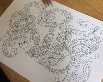 Adult colouring page, Sloth, coloring