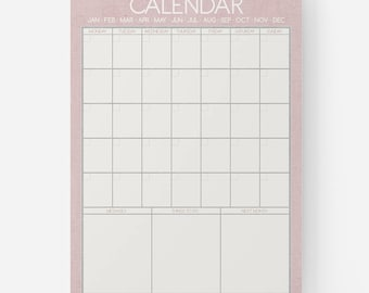 PLANNER PRINT - Reusable Dry Erase Monthly Calendar, Planner, Organiser, Wall Calendar Whiteboard, Command Centre - Scandi Style