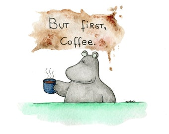 Watercolor print hippo coffee time A4 colorful illustration -Digital print cute animal painting- Coffee art - Gift for coffee lover