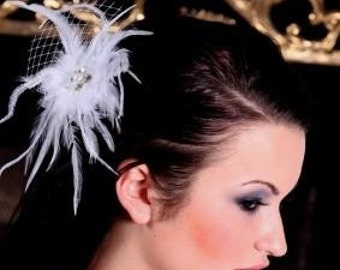 Bridal Orchid Feather Fascinator Flower Comb with crystals and pearls center