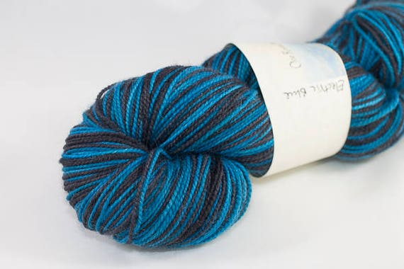 Electric Blue Two Color Self Striping Yarn