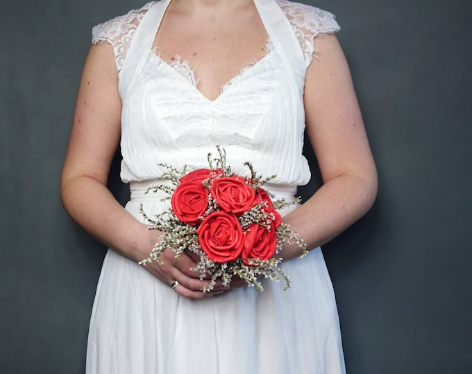 Red bronze sola rose flowers wedding BOUQUET dried limonium satin ribbon lace Bridesmaids vintage elegant toss beauty and the beast